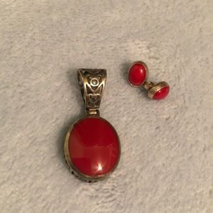 Red Stone Charm and Earrings